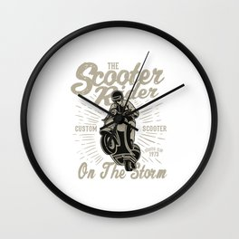 The Scooter Rider On The Storm - Vintage Scooter, Scooter Life Wall Clock