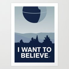 My I want to believe minimal poster-deathstar Art Print