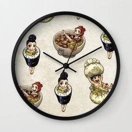 FOOD FAERIES- udon, sushi, and dimsum Wall Clock