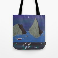 evil Tote Bags featuring Evil Mermaids by Angela Dalinger