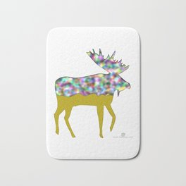 Moose in rainbow colours on white Bath Mat