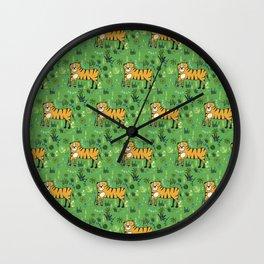 Jungle Tiger Green Wall Clock