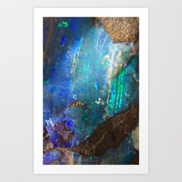 Turquoise geode opal iridescent holographic druse crystal quartz agate gem gemstone mineral stone Art Print