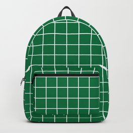 Dartmouth green - green color - White Lines Grid Pattern Backpack