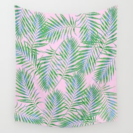 Fern Leaves Pink Wall Tapestry