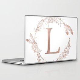 Letter L Rose Gold Pink Initial Monogram Laptop & iPad Skin