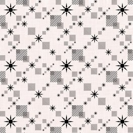 Art Print - Abstract black pattern on a cream background - marinaklykva
