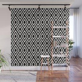 Black and White Diamond Geometric Print Wall Mural