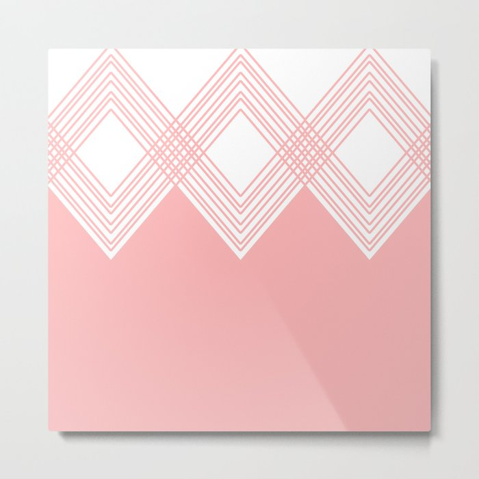 Abstract geometric pattern - pink and white. Metal Print