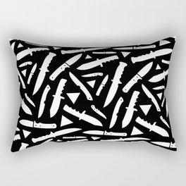 Survival Knives Pattern - White on Black Rectangular Pillow
