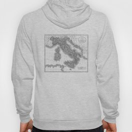Vintage Map of Italy (1799) BW Hoody
