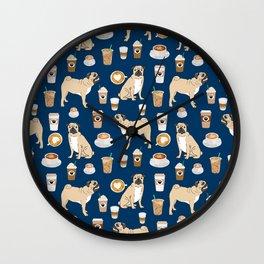 Pug coffee pupuccino dog breed cute pugs pure breed lovers gifts Wall Clock