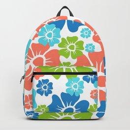 Flowers Spring Orange Blue Green Print Backpack