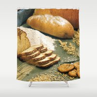 bread Shower Curtains featuring Baking Bread by BravuraMedia