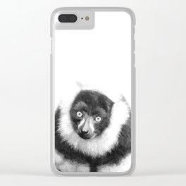 Black and white lemur animal portrait Clear iPhone Case