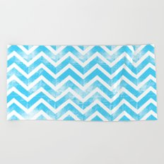 Maritime Aqua Teal Chevron Herringbone ZigZag - Mix & Match Beach Towel