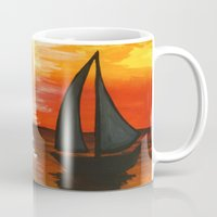 tequila Mugs featuring Tequila Sunset by William Gushue