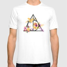Life and Deathly Hallows White MEDIUM Mens Fitted Tee