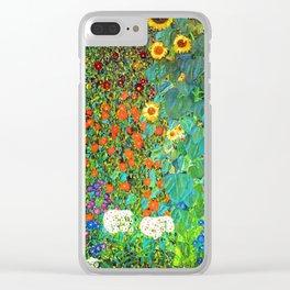 Gustav Klimt Garden with Sunflowers Clear iPhone Case
