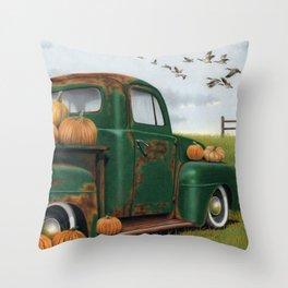 The Pumpkin Truck  Throw Pillow