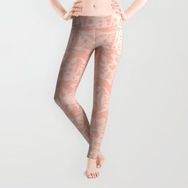 Blush Pink Panthers and Plants Leggings