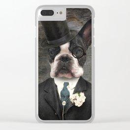 Sir Duncan - Boston Terrier Portrait Clear iPhone Case