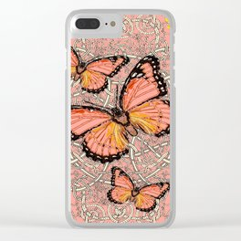 CORAL COLORED MONARCH BUTTERFLIES FANTASY ART Clear iPhone Case