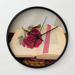 Red Rose on Open Book Library Art A224 Wall Clock