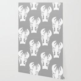 Grey Lobster Pattern Wallpaper