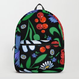 Female head with abstract flowers Backpack