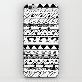 Hand painted black white watercolor aztec pattern iPhone Skin