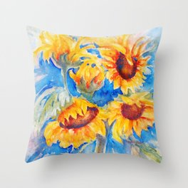 Sunflowers x 5 watercolor by CheyAnne Sexton Throw Pillow