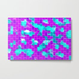 BRICK WALL SMUDGED (Purples, Violets & Turquoises) Metal Print