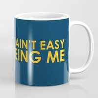 sayings Mugs featuring It ain't easy being cheesy by Picomodi