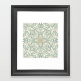 Soft Sage & Cream hand drawn floral pattern Framed Art Print