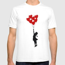 Girl With Heart Balloons T-shirt