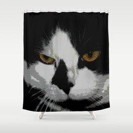 Black white cat II Shower Curtain