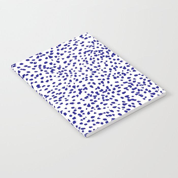 Vonnie - abstract minimal indigo blue dalmatian dots brushstrokes animal print monochromatic print Notebook
