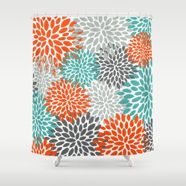 Floral Pattern, Abstract, Orange, Teal and Gray Shower Curtain