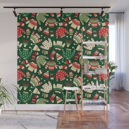 Ugly Christmas Fashion red green white Wall Mural