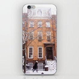 Snowy NYC Brownstone Street iPhone Skin