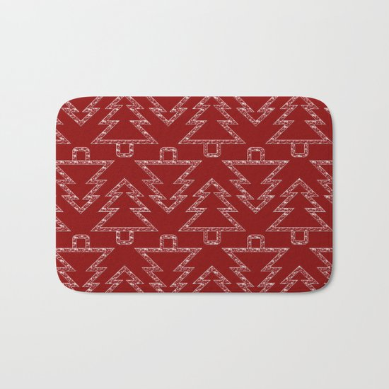 Merry Christmas- Abstract christmas tree pattern on festive red Bath Mat