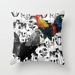 Two roosters in the garden Throw Pillow