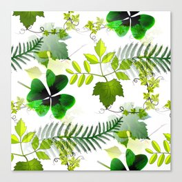 Four-Leaf Clover in Greneery Foliage Pattern Canvas Print