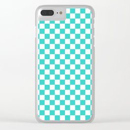 White and Turquoise Checkerboard Clear iPhone Case