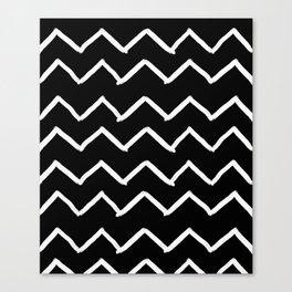 Black and White Zick Zack Brush Canvas Print
