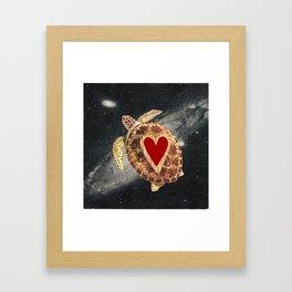 space turtle in love Framed Art Print
