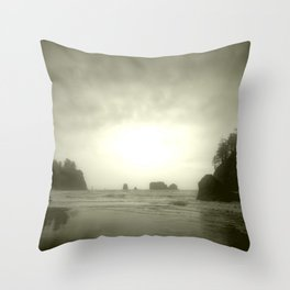 Foggy Sea Stacks Throw Pillow