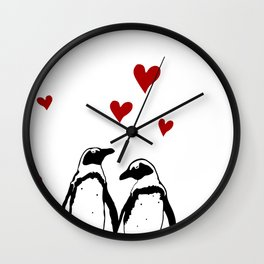 Love Penguins Wall Clock