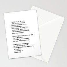 10 Things i Hate About You - Poem Stationery Cards